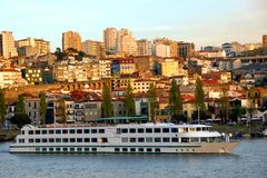 Cruise ship in Douro river royalty free stock photo