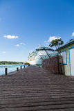 Cruise Ship Down Pier by Palm Tree Stock Photos