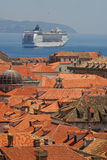 Cruise ship in Dubrovnik Stock Photography