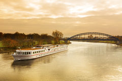 Cruise ship on the Elbe river. At Magdeburg Stock Photography
