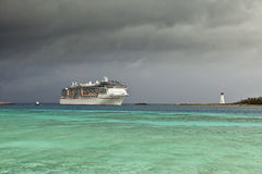 Cruise ship and approaching storm Royalty Free Stock Photos