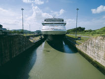 Cruise ship enters Miraflores Locks at Panama Canal stock image