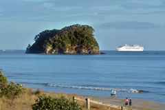 Cruise ship enters Port of Tauronga New Zealand Royalty Free Stock Photos
