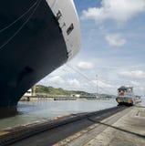Cruise ship exiting Pedro Miguel Locks Royalty Free Stock Image