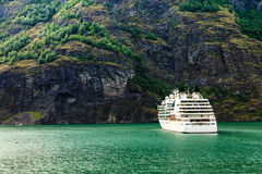 Cruise ship ferryboat on norwegian fjord Royalty Free Stock Images