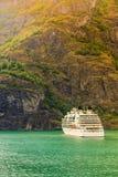 Cruise ship ferryboat on norwegian fjord Royalty Free Stock Photo