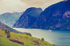 Cruise ship ferryboat on norwegian fjord Stock Image