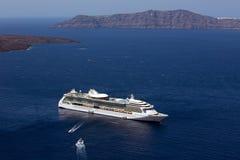 Cruise ship, Fira, Santorini. stock photo