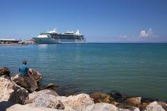 Cruise Ship and Fisherman, Kusadasi Royalty Free Stock Photo