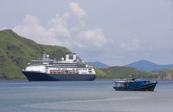 Cruise ship & fishing boat, Komodo Island Stock Photos