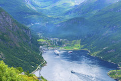 Cruise ship at fjord. Cruise ship at Geiranger fjord Stock Photo