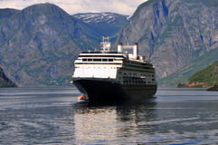 Cruise ship in fjord Stock Photography