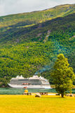 Cruise ship on fjord Sognefjord in Flam Norway Royalty Free Stock Images