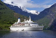 Cruise ship at Fjords. Royalty Free Stock Photos