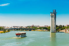 Cruise ship floating in Guadalquivir river in Seville, Spain stock image