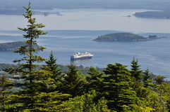 Cruise ship floating off Maine Coast Cadillac Mountain in Acadia National Park, Maine. A view from atop Cadillac Mountain. Cadillac Mountain is the highest point Stock Photography
