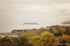 Cruise ship in fog Stock Photo