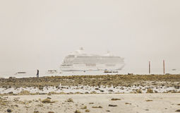 Cruise ship in fog royalty free stock photography