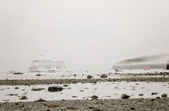 Cruise ship in fog Royalty Free Stock Photos
