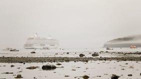 Cruise ship in fog Stock Photos