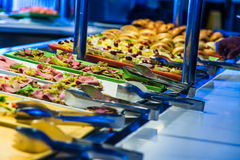 Cruise ship food buffet. Food buffet in cruise ship at the oceanview cafe. Sandwish station Royalty Free Stock Images