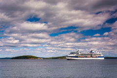 Cruise ship in Frenchman Bay, seen from Bar Harbor, Maine. Royalty Free Stock Image