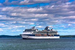 Cruise ship in Frenchman Bay, seen from Bar Harbor, Maine. Stock Photography