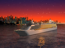 Cruise ship in front of the city Royalty Free Stock Photography