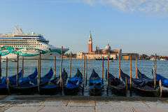 Cruise ship in front of San Giorgio Maggiore, Venice Royalty Free Stock Photography