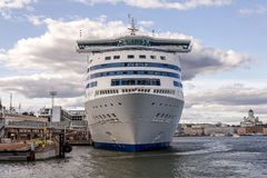 Cruise Ship. Front view of huge cruise ship by the dock in the port of Helsinki Finland Royalty Free Stock Photography