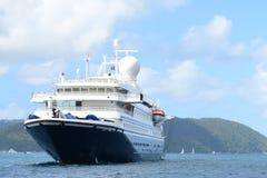 Cruise Ship is at  full stop in Sir Francis Drake Passage, BVI Royalty Free Stock Image