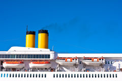 Cruise ship funnels. Detail of a cruise ship in the Mediterranean Stock Image