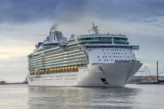 Cruise Ship in Galveston Harbour departing stock photos