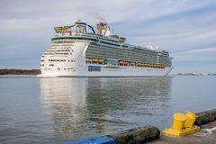 Cruise Ship in Galveston Harbour departing port royalty free stock photography