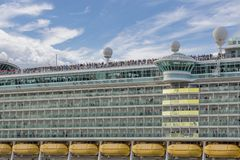 Cruise Ship in Galveston Harbour with passengers lining up to view Galveston as it departs stock photo