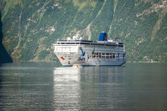 Cruise ship in Geiranger fjord, Norway  August 5, 2012 Stock Photos