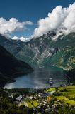 Cruise ship in Geiranger fjord, Norway Stock Photography