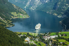 GEIRANGER, NORWAY. Cruise ship in Geiranger seaport, Norway Royalty Free Stock Photos