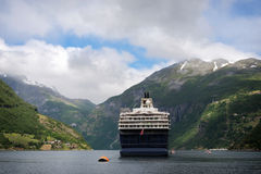 Cruise ship in the Geirangerfjord Royalty Free Stock Image