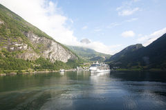 Cruise Ship in Geirangerfjord Norway Royalty Free Stock Photo