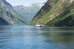 Cruise ship in Geirangerfjord, Norway. Stock Photography