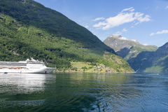 Cruise ship in Geirangerfjord, Norway. Stock Image