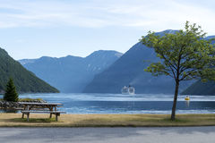 Cruise ship in Geirangerfjord, Norway. Royalty Free Stock Photos