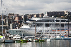 Cruise ship in Genoa Royalty Free Stock Images