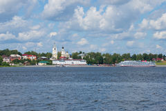 Cruise ship `Georgy Zhukov` in the old russian city of Myshkin. View from the right bank of the Volga river Royalty Free Stock Photography