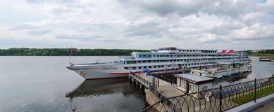 Cruise ship Georgy Zhukov on river berth, Uglich, Russia Stock Photos