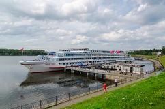Cruise ship Georgy Zhukov on river berth, Uglich, Russia Stock Photo