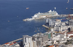 Cruise ship in Gibraltar. Aerial view of cruise ship docked at the Port of Gibraltar Royalty Free Stock Photography