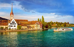 Cruise ship going down the Rhine river in Stein am Rhein, Switze Royalty Free Stock Photography