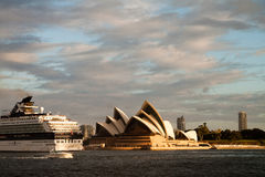 Cruise Ship going past Opera House Stock Image
